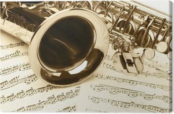 Saksofonin yksityiskohta Kangaskuva