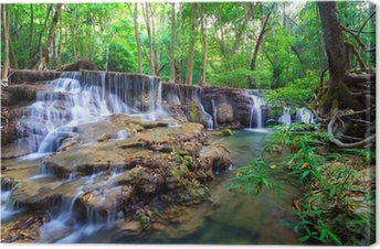 Syvä metsän vesiputous kanchanaburi, thaimaa Kangaskuva