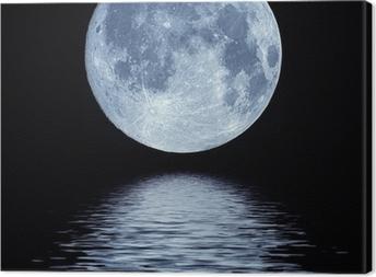 Täysi kuu veden yli Kangaskuva