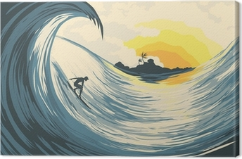 Trooppinen saari aalto ja surffaaja Kangaskuva