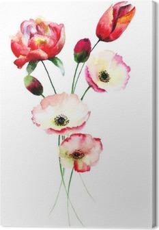 Unikko ja tulppaanit kukkia Kangaskuva