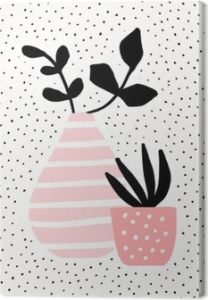 Vaaleanpunainen maljakko ja kasvi kasveilla Kangaskuva