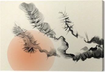 Vanhan mäntyn oksat, jotka on vedetty sumi-e: n tyyliin. Kangaskuva