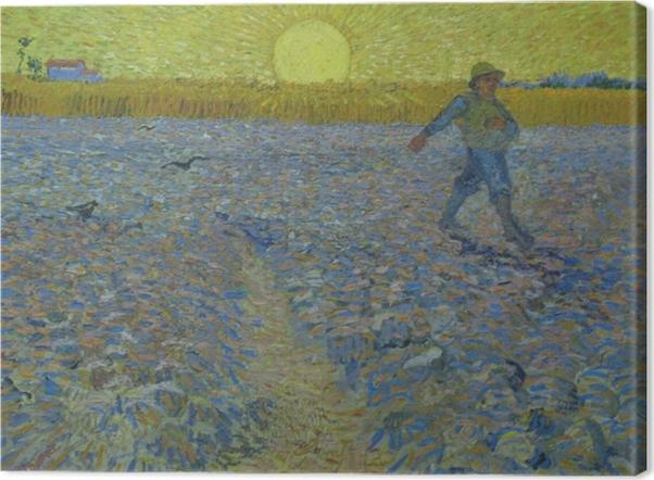 Vincent van Gogh - Kylväjä Sunset Kangaskuva - Reproductions
