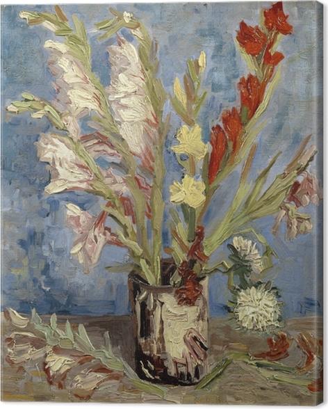 Vincent van Gogh - Maljakko Gladioli ja kiinalaisten Asterit Kangaskuva - Reproductions