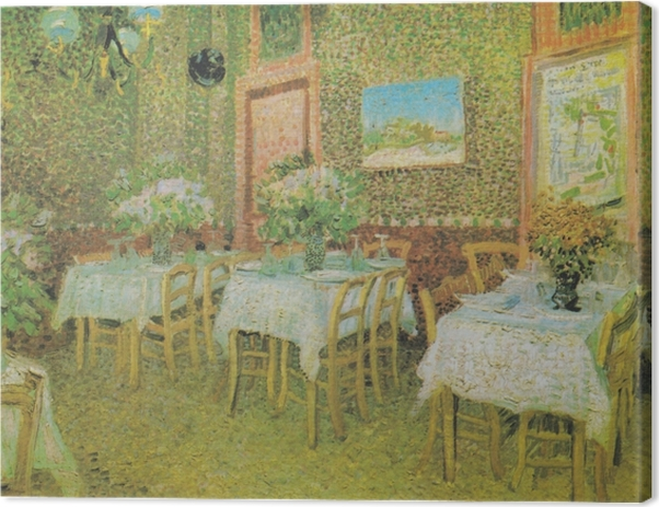 Vincent van Gogh - Sisätilojen ravintola Kangaskuva - Reproductions