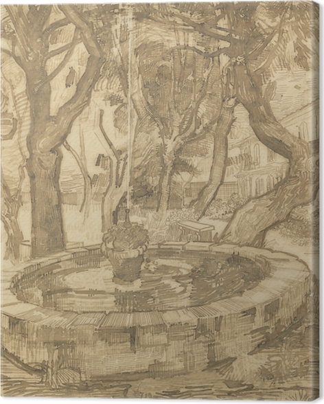 Vincent van Gogh - Suihkulähde puutarhassa Asylum Kangaskuva - Reproductions