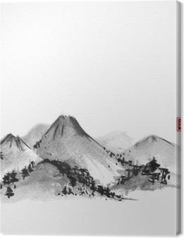 Vuoret käsi piirretty musteella valkoisella pohjalla. sisältää hieroglyfejä - zen, vapaus, luonne, selkeys, suuri siunaus. perinteinen itämainen mustemaalaus sumi-e, u-sin, go-hua. Kangaskuva