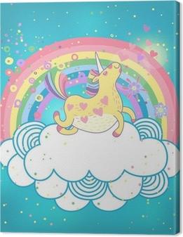Yksisarvinen sateenkaari pilvissä Kangaskuva