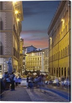 Yö kadut firenzessä, italiassa Kangaskuva