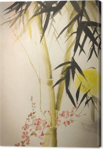 Aurinko bambu ja luumu haara Kangastuloste - Kasvit Ja Kukat
