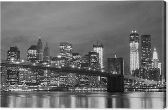 Brooklyn silta ja manhattanin horisonttiin yöllä, new york city Kangastuloste