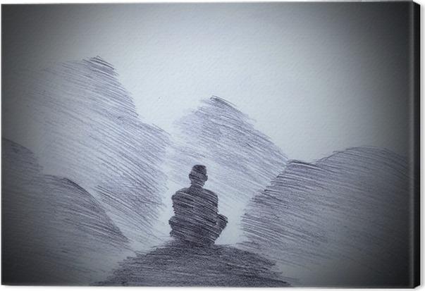 Buddhalainen munkki vuoristossa Kangastuloste - Kulttuuri Ja Uskonto