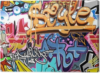 Graffitien seinä. kaupunkien taiteen vektori tausta. saumaton rakenne Kangastuloste