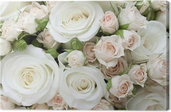 Häät kimpussa pinkand valkoisia ruusuja Kangastuloste