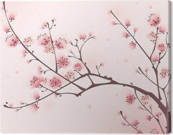 Itämainen tyyli maalaus, kirsikankukka keväällä Kangastuloste
