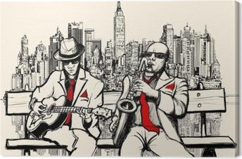 Kaksi jazz-miestä, jotka pelaavat New Yorkissa Kangastuloste