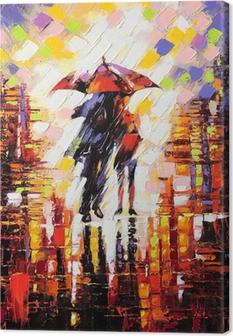 Kaksi rakastettu sateenvarjon alle Kangastuloste