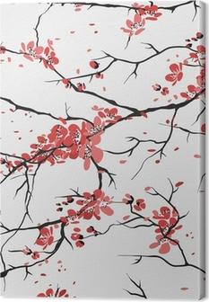 Kirsikka tai sakura saumaton kuvio tausta Kangastuloste