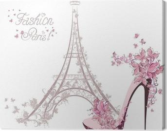 Korkeakorkoiset kengät taustalla eiffel-tornista. Pariisin muotia Kangastuloste