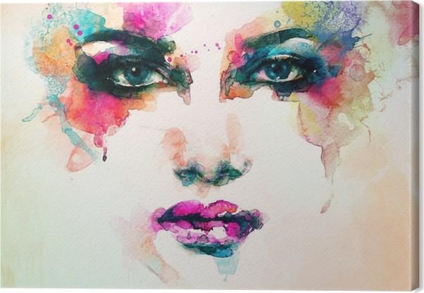 Nainen muotokuva. abstrakti vesiväri. muodin tausta Kangastuloste - Ihmiset