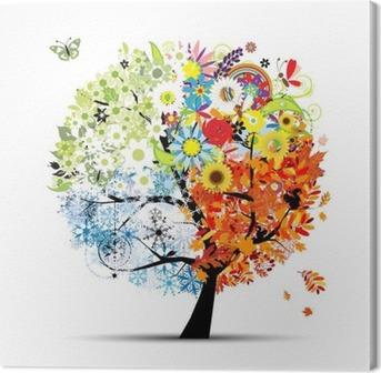 Neljä vuodenaikaa - kevät, kesä, syksy, talvi. art puu Kangastuloste