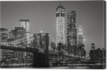 New York yöllä. brooklyn silta, alempi manhattan - musta Kangastuloste