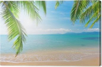 Palmu ja trooppinen ranta Kangastuloste