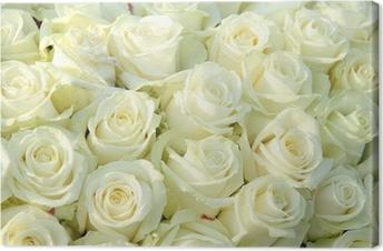 Ryhmä valkoisia ruusuja, häät koristeet Kangastuloste