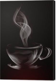 Taiteellinen kuvitus savu kuppi kahvia musta Kangastuloste