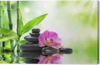 Tausta kylpylä - orkideat mustat kivet ja bambu veteen Kangastuloste