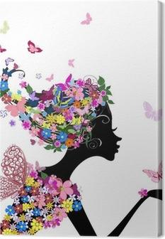 Tyttö kukkia ja perhosia Kangastuloste