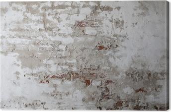 Vanha punainen tiiliseinä ja säröillä oleva betoni Kangastuloste
