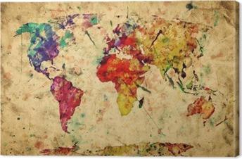 Vintage maailman kartta. värikäs maali, vesiväri grunge-paperiin Kangastuloste