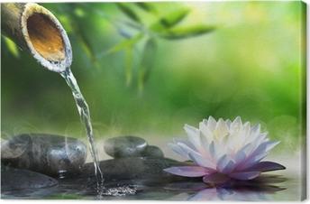 Zen puutarha hieronta kivet ja waterlily Kangastuloste