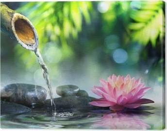 Zen-puutarha, jossa on mustat kivet ja vaaleanpunainen waterlily Kangastuloste