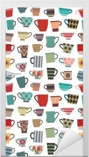 Kapı Çıkartması Farklı şekil ve renklerde sorunsuz desen arka plan 1 kahve kupaları ve kupalar