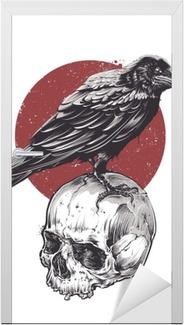 Kapı Çıkartması Kafatası üzerinde Raven