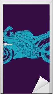 Kapı Çıkartması Mavi spor bisiklet