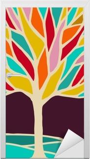 Kapı Çıkartması Renkli dalları ile soyut ağaç illüstrasyon