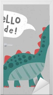 Kapı Çıkartması Serin, sevimli dinozor illüstrasyon