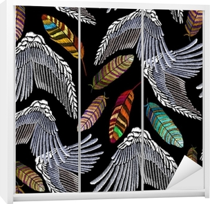 dee47327f250be Fotobehang Borduurwerk engelenvleugels en veren naadloos patroon. prachtige  heldere tropische pauwenveren en engelenvleugels. mode sjabloon voor kleding,  ...