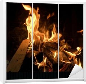Brandende Houtblokken In Open Haard