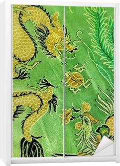 Kaststicker Draak en phoenix, Chinese zijde borduurwerk