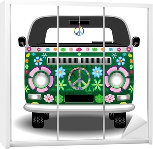 Kaststicker Hippie Groovy Van Peace and Love