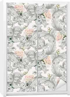 Kaststicker Luxe rococo ornament met rozen bloemen achtergrond vector. delicate rijke imperiale ingewikkelde elementen. Victoriaanse koninklijke stijl patroon