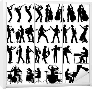 Kaststicker Muzikanten vector silhouetten