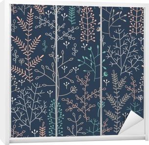 Kaststicker Naadloze patroon met minimalistische bloemenornament