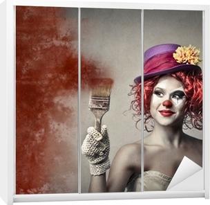 Kaststicker Schilderij Clown