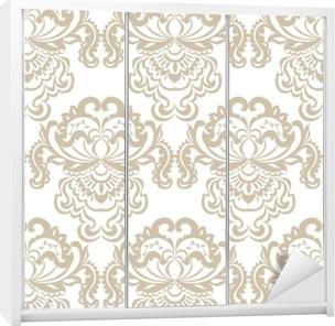 Kaststicker Vector bloemen damast barok ornament patroon element. elegante luxetextuur voor textiel, stoffen of behangachtergronden. beige kleur